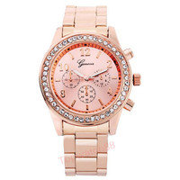 Womens Geneva Quartz Watch  - Pink Bling