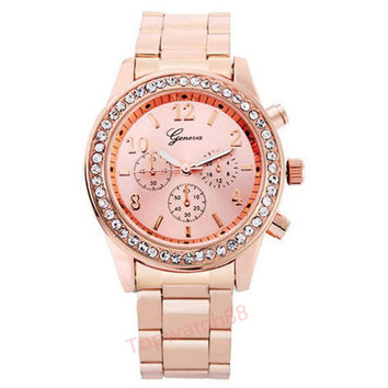 Fashion Watch Geneva Unisex Quartz Watch Women Analog Wristwatches Bling Crystal Clocks Stainless Steel Watch Relogio Reloj