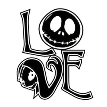 11.6CM*13.7CM Jack Skellington And Sally , Nightmare Before Christmas , Love , Car Stickers Car Decoration Black/Sliver C8-0348