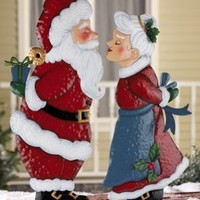Kissing Clauses Christmas Outdoor Garden Stakes Mrs. Claus
