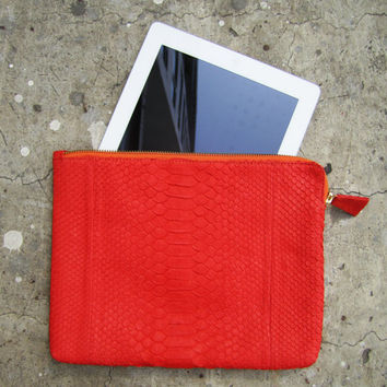Red Python Snakeskin Zippered Leather Clutch Bag