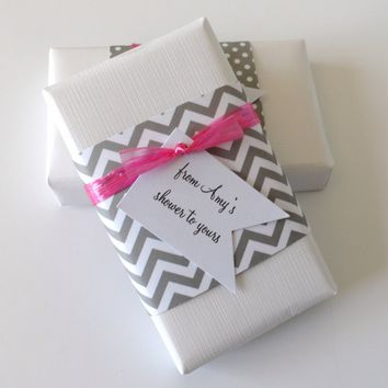 Gray & White Chevron Baby Shower Favors with Custom Tags, Set of 12