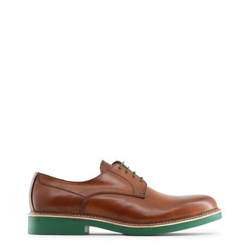 """Men's Brown Italian Leather """"Made in Italia EMILIO"""" Dress Shoes with Green Rubber Soles"""