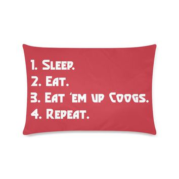 """Red Houston University """"Checklist"""" Rectangle Pillow Case (Twin, Full, Queen, or King)"""