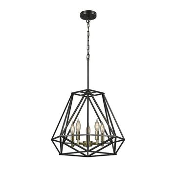 Globe® 65435 Sansa 5-Light Chandelier with Hanging Cord & Chain, Dark Bronze