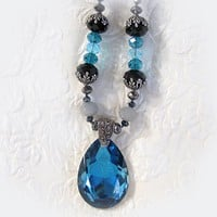 Necklace with Pendant Crystal Black Pewter Teal Sterling Silver