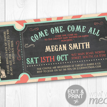 Pastel Circus Baby Shower Invite Carnival Invitations Gender Reveal DOWNLOAD Ticket Admit One Couples Twins Personalize Editable Printable