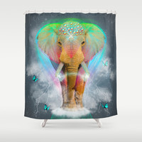 Nothing Is So Strong As Gentleness (Neon Elephant v. I) Shower Curtain by soaring anchor designs ⚓