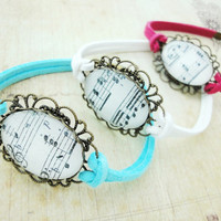 Melody Music Notes Glass Dome Antique Brass Leather Suede Bracelet