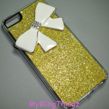 For iPhone 5 - BIG White Crystal Bling Cute Bow on Gold Glitter Sparkle Case Cover Shell