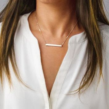 Dainty Horizontal Bar Necklace Stainless Steel, Silver, Gold, Rose Gold