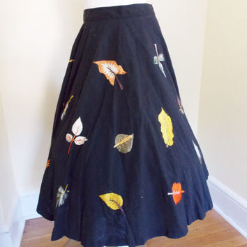 Rare Vintage Tachi Castillo Fall Leaves  1950's Mexican Circle Skirt Volup Plus Size Voluptuous