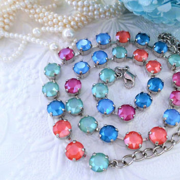 NEW,  Summer Colors, Swarovski Crystal Necklace, multi, 8mm, Choker,  bridal, DKSJewelrydesigns, FREE SHIPPING
