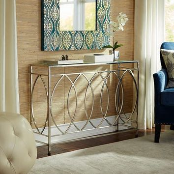 Elana Silver Stainless Steel Console Table