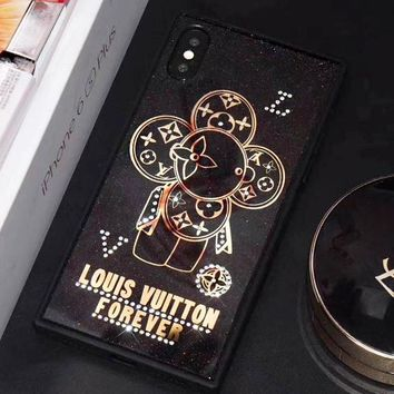 LV Louis Vuitton Fashion Shiny Water Drill Flower Pattern Phone Case Shell For iphone 6 6plus iphone 7 7plus iphone 8 8plus iphone X Black I12325-41