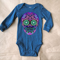 Long Sleeve Sugar Skull Onesuit. Blue Printed Skull Creeper. Navy baby bodysuit. Trendy kid clothes 3 months 6 months 12 months Infant Onesuit