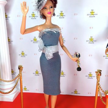 Barbie Doll Dress - Smokey Gray with Silvery Accents