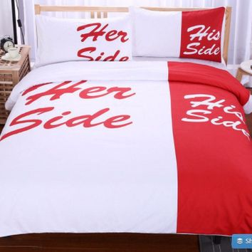 Red Bedding Set His Side & Her Side