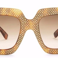 NWOT $1190 GUCCI Oversized Rhinestones Square Acetate Frame Sunglasses Gold