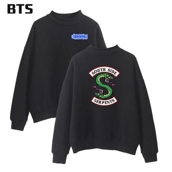 BTS Riverdale Turtleneck Winter Hoodies Men Sweatshirts Hooded Pullover Casual Harajuku European Style Sweatshirt Men Streetwear