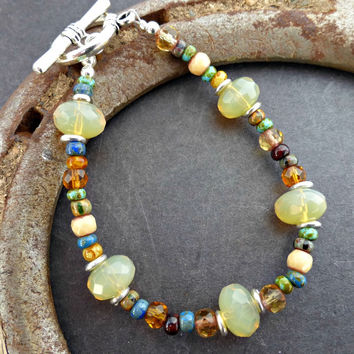 Earthy colored Czech glass and silver metal bracelet. Green, blue, yellow, cream, brown. Handmade jewelry, jewellery. Fashion, Accessories.