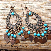 Copper and blue turquoise stone earrings.