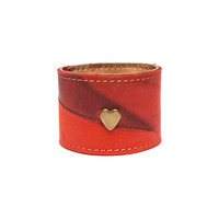 Unique, elegant and stylish bracelet / Leather Accessories from BRANDIA / Red Vintage with Gold