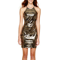My Michelle® Sleeveless Sequin Halter Dress