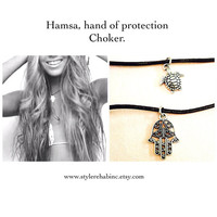 New. Hamsa Choker.  Just in time for Summer. Black leather necklace with a Silver Charm. Simple. Goes with everything. 90's grunge. Layer.