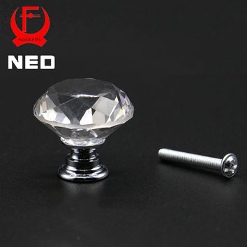 NED 20-40mm Diamond Shape Design Crystal Glass Knobs Cupboard Drawer Pull Kitchen Cabinet Door Wardrobe Handles Hardware