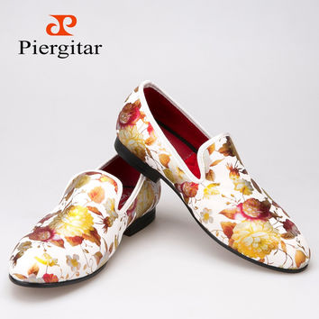 Printing flowers Men Cloth shoes Men Wedding and Party Loafers Men's Flats Size US 6-14 Free shipping