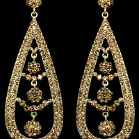 Floral Tear Drop Earrings in Gold – bandbcouture.com
