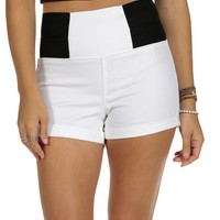 Sale-white Elastic Sides Shorts