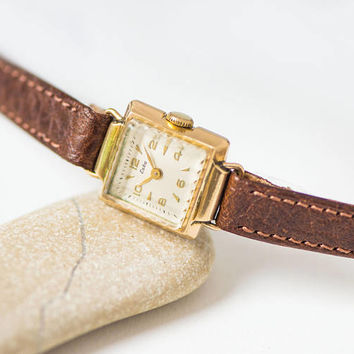 Art deco style Swiss women's watch ESKA retro, gold plated lady watch square case, retro jewelry lady watch petite premium leather strap new