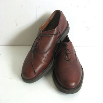 Vintage 1980s Leather Shoes BASS Mens Dark Brown Brogue Shoes 10M