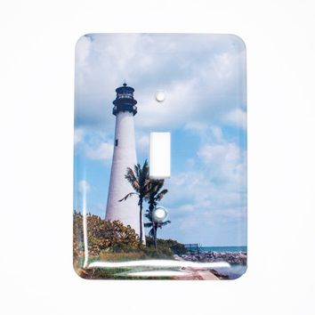 Cape Florida Lighthouse Light Switchplate, Hand Imprinted Photograph