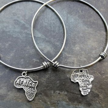 Stainless Steel Bangles, Africa Map Adjustable Bangles, Best friends gift