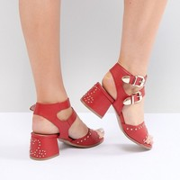 Lost Ink Wide Fit Red Western Studded Heeled Sandals at asos.com