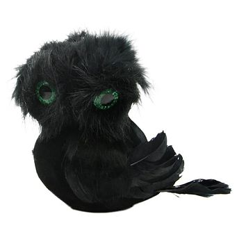 "5.75"" Spooktacular Black Faux Fur and Feathered Owl Halloween Decoration"