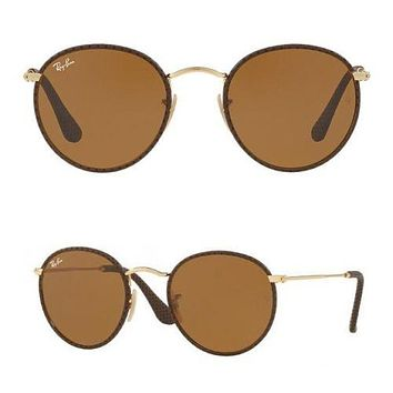 Rayban Leather Craft sunglasses RB3475Q 9041 50mm Brown Gold GENUINE Round 3475