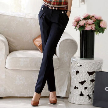 2016 Hitz was thin stretch pants female casual pants suit pants vocational high women's trousers small straight jeans
