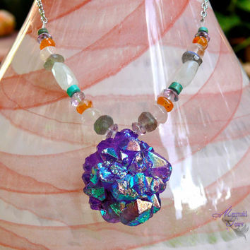 Solar Quartz Stalactite Necklace - mystic purple druzy gemstone jewelry made in Hawaii by Mermaid Tears