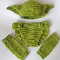 Yoda Set 3pcs For Boy- Baby Hat , Diaper Cover And Leg Warmers From Star Wars Newborn Crochet Photo Prop Baby Girl Hat Halloween / Cosplay