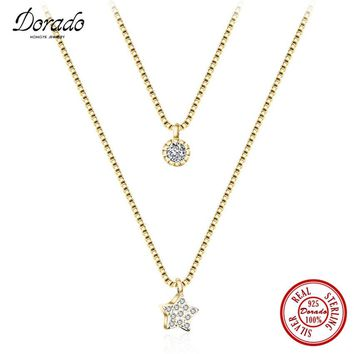 Dorado 2017 New Brand Double Chain Gold Plated AAA Zirconia Star and Round Pendant Necklace for Women Party Fine Jewelry