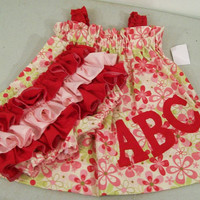 Girls  Dress-ABC Swing Dress with Ruffled Panties--Personalized---#228