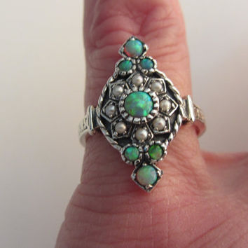 Sterling Silver Genuine Opal and Seed Pearl Ring Size 5 1/2+