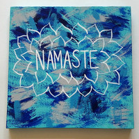 Bohemian Namaste acrylic canvas painting for bedroom, dorm room, or home decor
