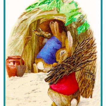 Peter Ben Rabbit Collect Wood inspired by Beatrix Potter Counted Cross Stitch Pattern