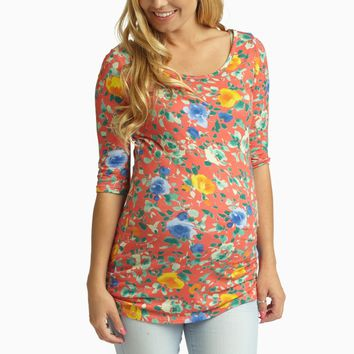 Coral Rose Garden Fitted 3/4 Sleeve Maternity Top