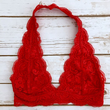 Lace Halter Bralette in Red